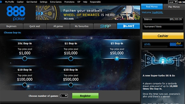 Blast регистрация в турнире 888poker
