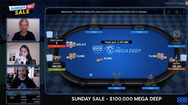 Три турнира акции Sunday Sale на 888 Покер разыграли 173 950 долларов призовых