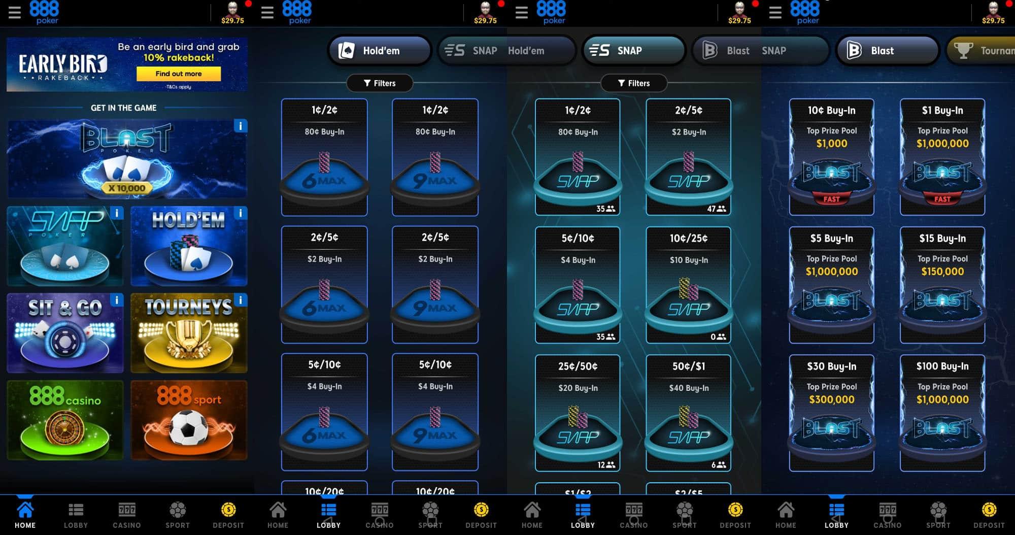 Интерфейс нового мобильного клиента 888покер
